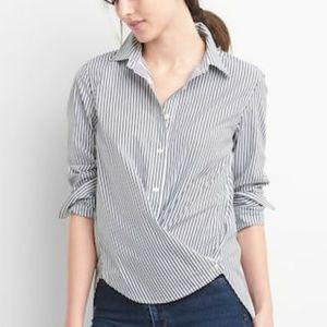 💖GAP💖Poplin Stripe Wrap-button Shirt - NWT